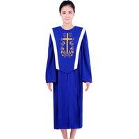 Аллилуйя синий и красный цвета хор платье Церкви петь халат духовенства облачение Европейский стандарт церкви платье livello Europeo La кьеза