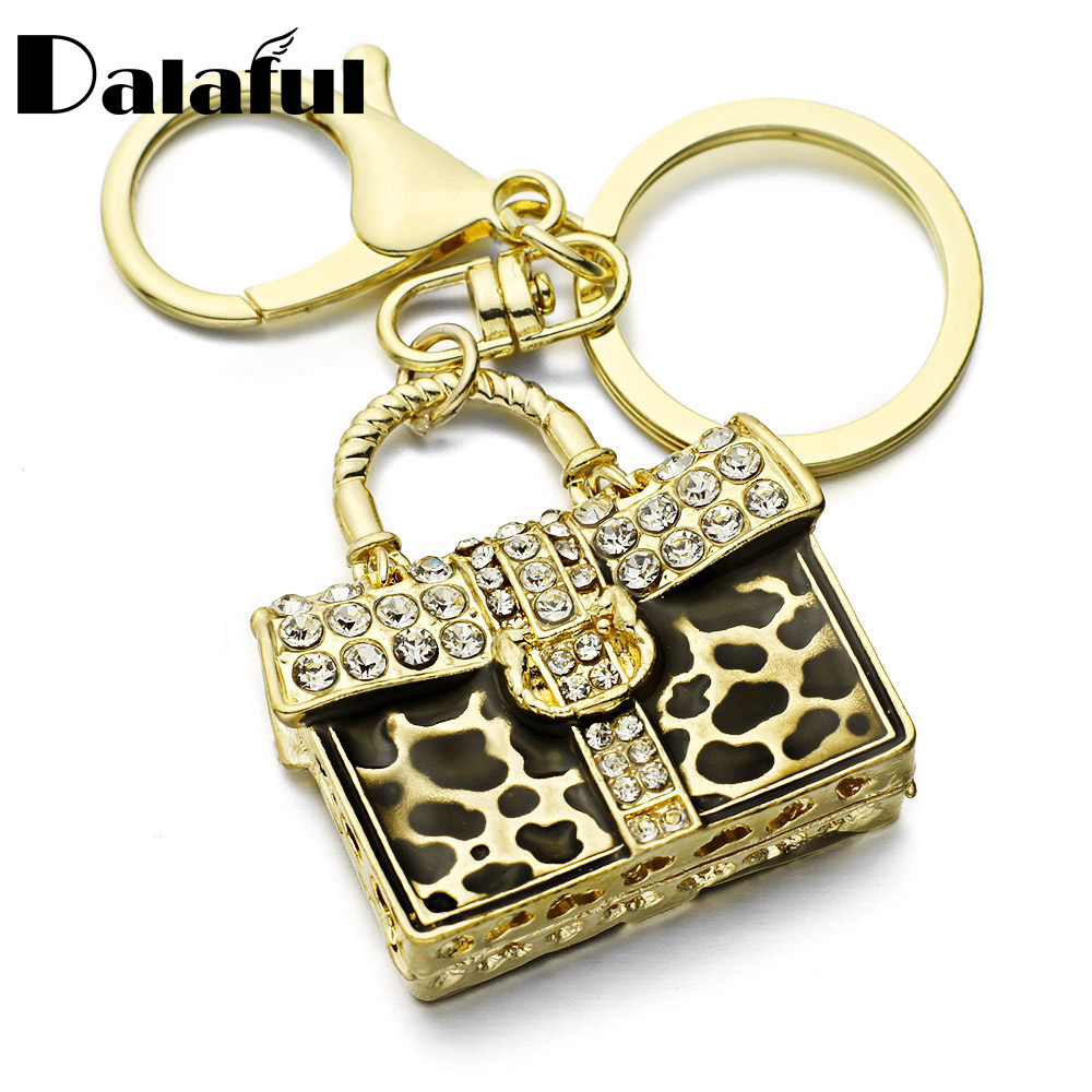 Dalaful Leopard HandBag Key Chains Rings Holder Chaveiro Innovative Crystal Bag Pendant For Car Keyrings KeyChains K260