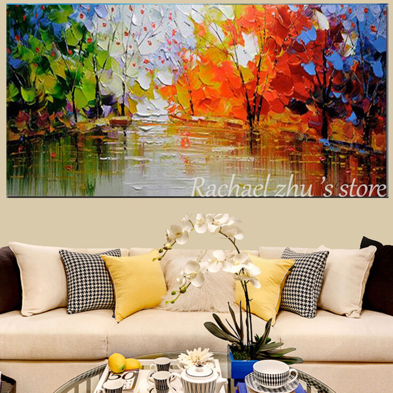 Купить с кэшбэком Large Size Hand Painted Abstract Color Tree Landscape Oil Painting On Canvas Wall Picture Living Room Bedroom Office Home Decor