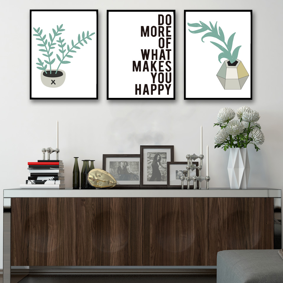 Nordic Decoratio Cartoon Plants Leaf Art Canvas Poster Modern ...
