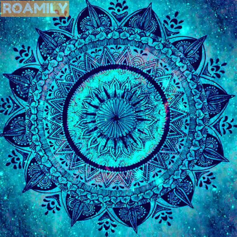 ROAMILY,Diamond Painting Mandala,Blue Icon,Religions,Diamond Art Flower,Full Square Drill,DIY Cross Stitch,Paint with Diamonds
