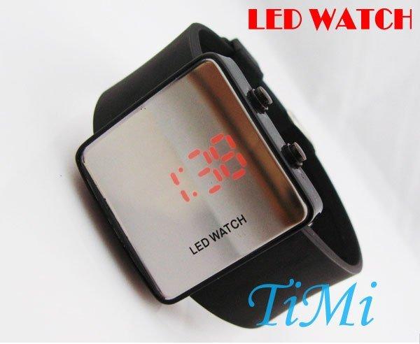 New Elegante Espelho Digital LED Data Relógio Do Esporte silicone relógio Preto