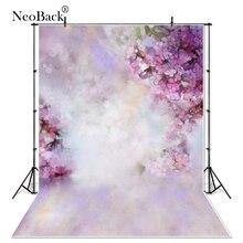 Fondos de fotografía de vinilo fino con pétalos florales púrpura para recién nacidos