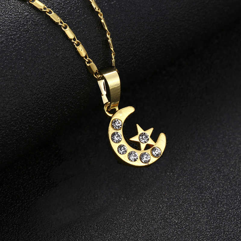 Nowy marka muzułmaninem półksiężyc naszyjnik srebrny/złoty kolor Islam Moon Star CZ rhinestone biżuteria kobiety prezent hurtownie