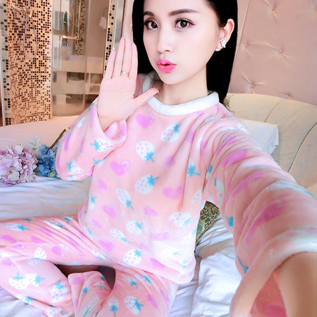6843ec134fc2 Hot sale 2016 winter warm sleepwear coral fleece long sleeve flannel pajamas  girl models cute thicken woman adult pajamas.ty0725