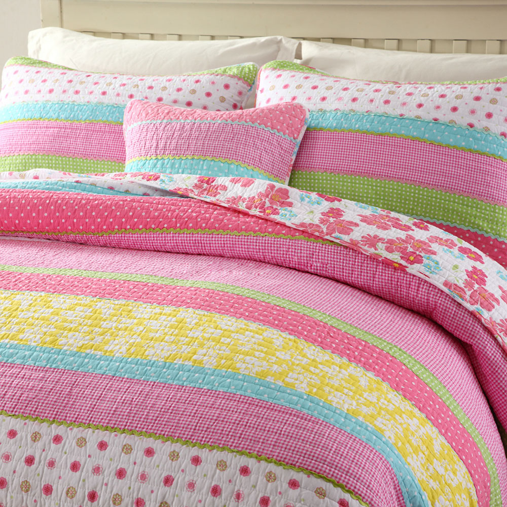 CHAUSUB Bedspread Kids Quilt Set Cotton Coverlets Quilted Bed Covers Shams Pink Girl Quilts 2pcs 3pcs Queen Twin Size Blanket