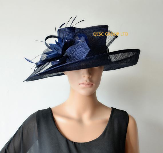 271652a50a1 NEW Big Navy blue wide brim Dress women s hat Church Sinamay Hats with  feather flowers for races