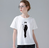 Women Summer New Tee Shirt Creative Cat Beautiful Design Lovely Fashion T Shirt 3D Printed Slim Female Hipster Tops W506