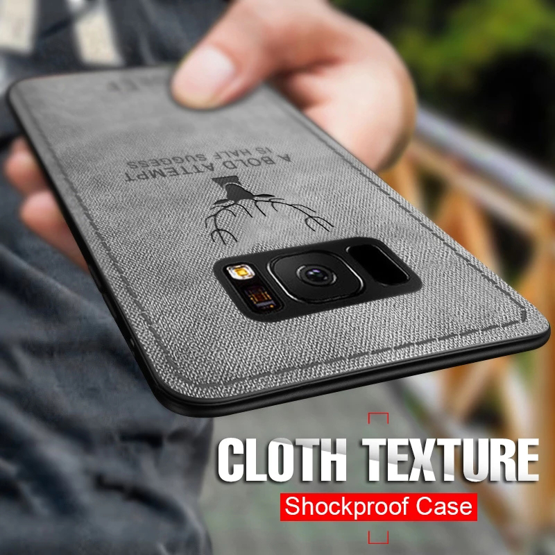 Cloth Texture Soft Silicon TPU <font><b>Case</b></font> For <font><b>Samsung</b></font> Galaxy a50 j4 j6 a6 a8 plus 2018 j3 j5 j7 2017 s7 edge s8 <font><b>s9</b></font> s10 plus e note 9 8 image