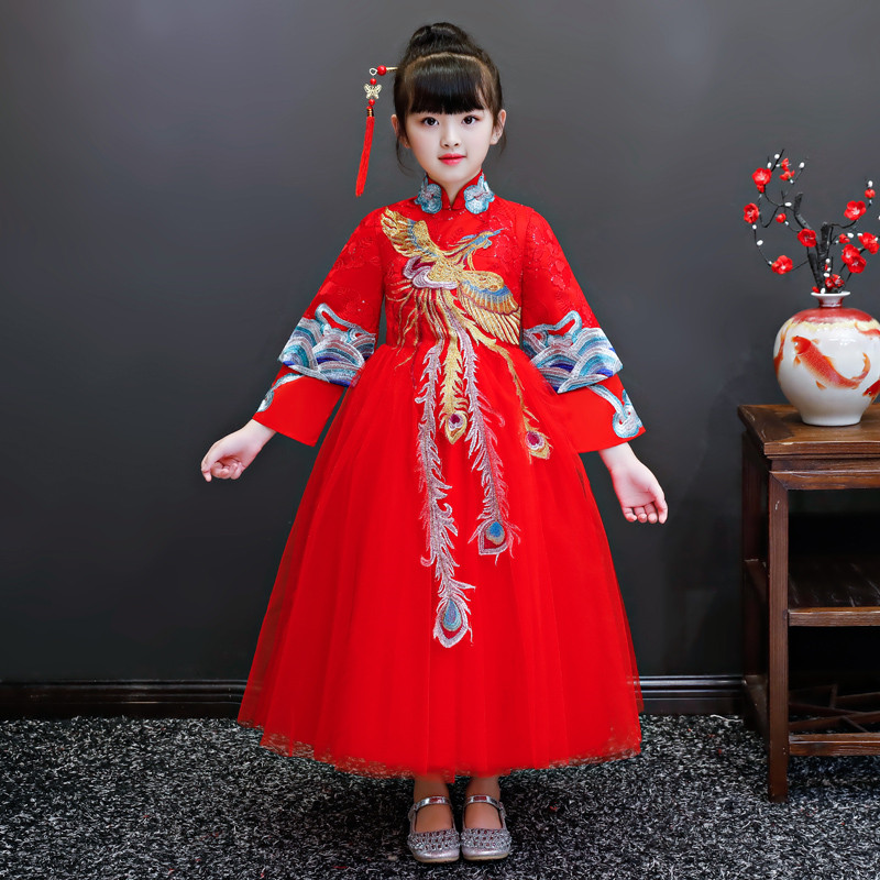 Chinese Wind Red Color Embroidery New Year Dress For Children Girls Teens Kids Elegant Fashion Birthday Host Piano Costume Dress цена 2017