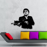 POOMOO Wall Decals Wall Stickers Vinyl Decal Scarface Film Gangster Man Weapons 22x28inch