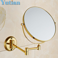 2014 Oral Hygiene Shaving Bathroom Mirror Wall Mounted gold brass 8 Inch Double Cosmetic Mirror(1:1 And 1:3) free Shipping