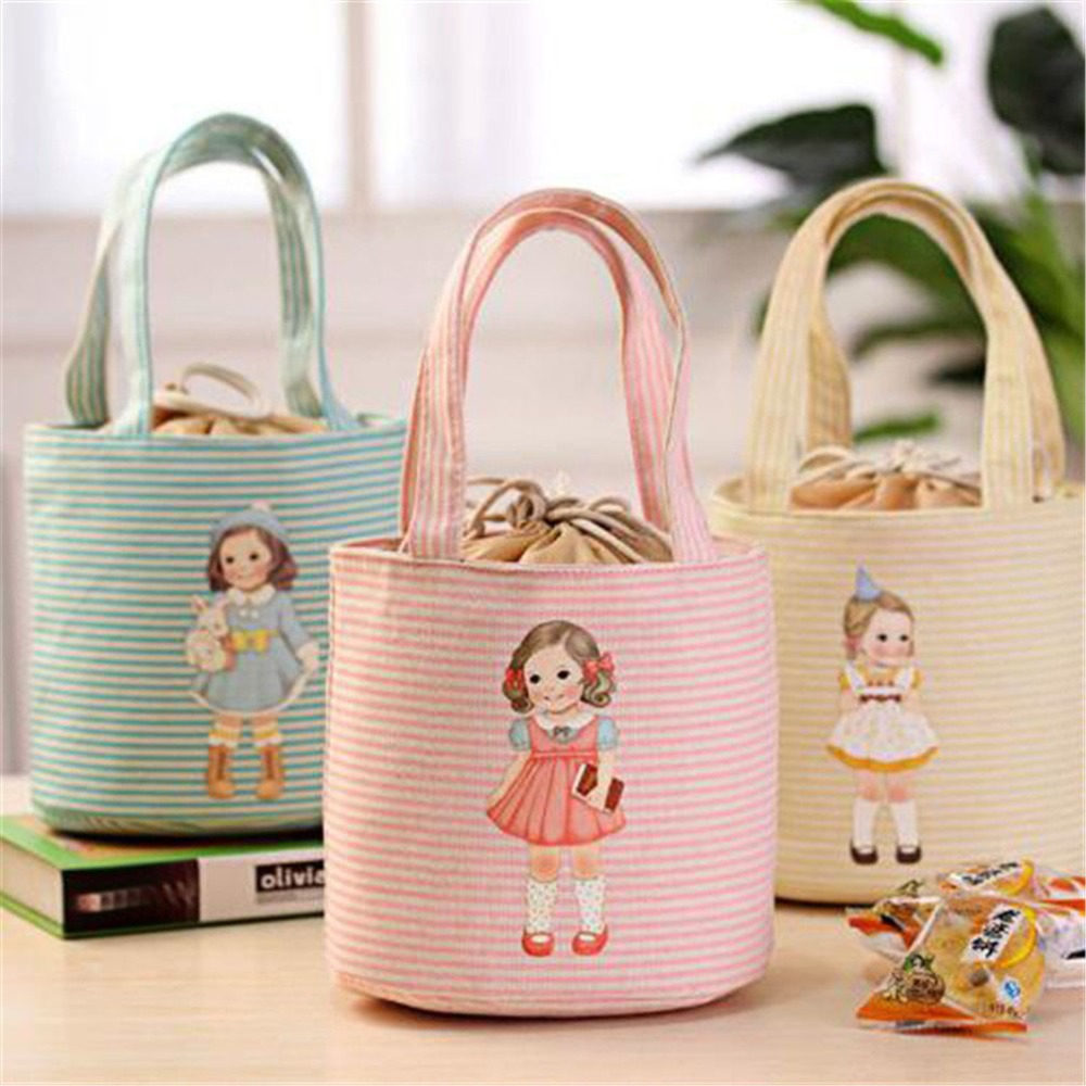 New Multicolor Cartoon Printing Portable Lunch Bag Thermal Insulated Box Tote Cooler Bag Bento Pouch Lunch Storage Case Lunchzak