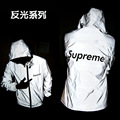 2016 male  reflective zipper hooded fleece 3 m reflective grey fashion leisure