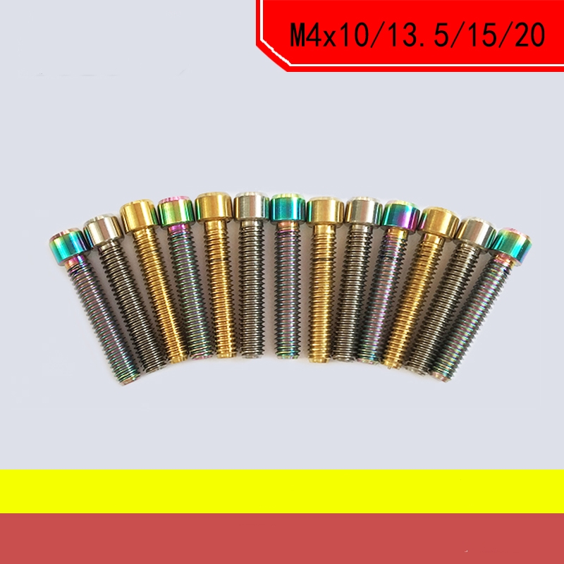 6 PCS M4x10//13.5//15//20 Titanium Ti Socket Head Bolts Allen Hex Screw for bicycle