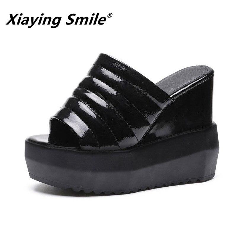 Xiaying улыбка женские шлепанцы обувь Летние женские босоножки на танкетке Высокая платформа Creeper шлепанцы Тапочки очень высокая женская обув...