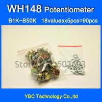 Envío Gratis 18valuesx5 Uds = 80 Uds WH148 potenciómetro B1K B5K B10K B20K B50K B100K B250K B500K B1M resistencias variables