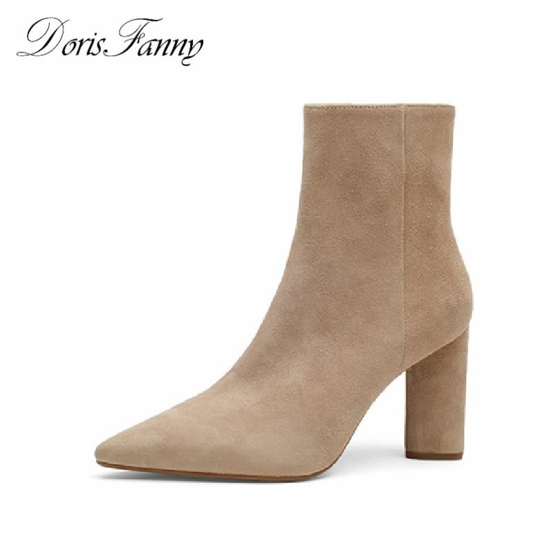 DorisFanny Ankle boots suede leather women zipper boots chelsea black beige brown block heels Autumn women suede chelsea boots