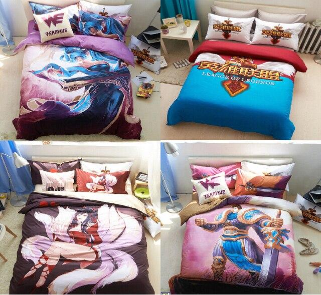 Top Quality Designer Bedding Set Lol League Legend Anime Bed Sheets For S Conforter Fc Barcelona Kids