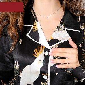 Image 5 - Sexy black 100% silk pajama sets women cute parrot Digital painting long sleeve elegance genuine silk noble pyjamas women
