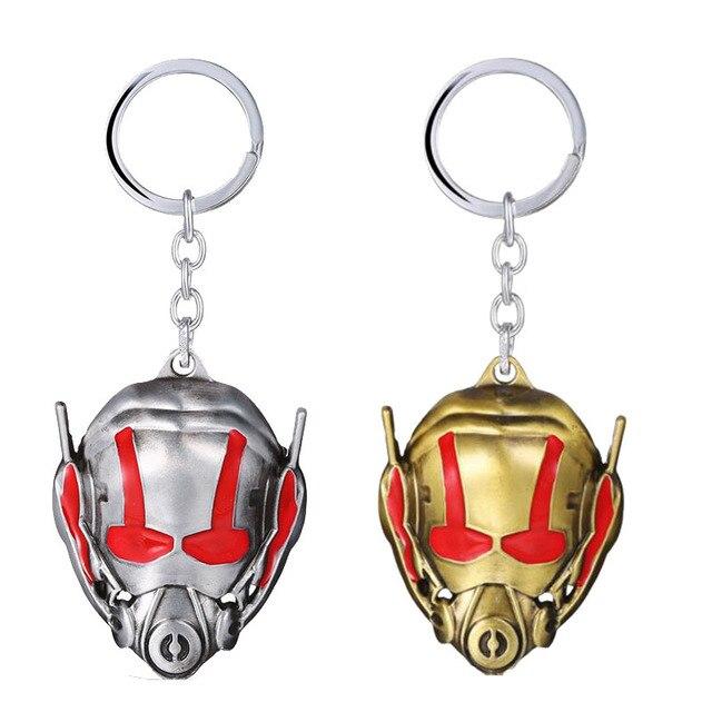 Os Vingadores o homem Formiga Keyring Antman Máscara figura cosplay de Super-heróis Da Liga do Zinco Chaveiro Pingente anel Homens brinquedo llavero