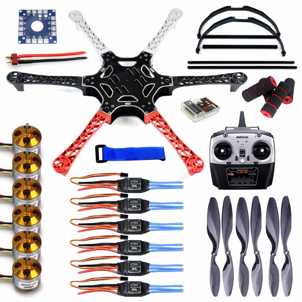F550 DIY Drone FlameWheel Kit With QQ ESC Motor Carbon Fiber Propellers + RadioLink 8CH TF8FB TX RX+Tall Landing Skid PTZ FPV f06586 c diy rc quadcopter fpv kit nylon flamewheel carbon tall landing skid kk v2 9 controller motor esc