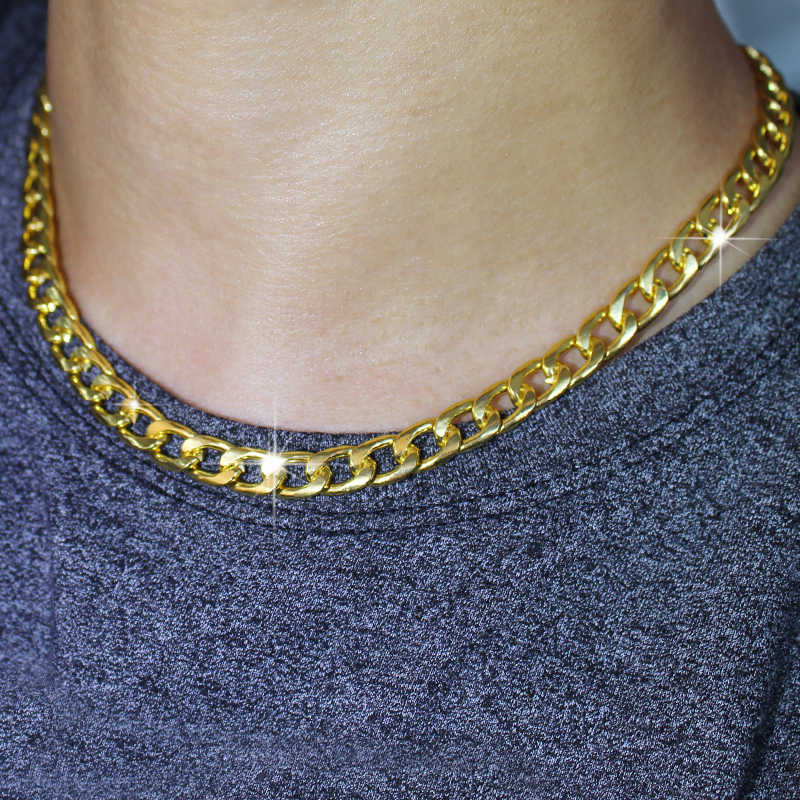 "Karopel 16""/18""/20""/24'' Men Iced Out Real Golden Miami Cuban Hip Hop Link Chain Choker Necklace Jewelry Unisex"