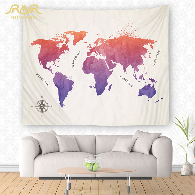 US $11.64 35% OFF|ROMORUS World Map Printed Tapestry Wall Hanging Art  Tapestries Picture Home Decor Wall Cloth Carpet Yoga Mat Blanket  Wholesale-in ...