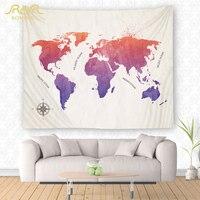Romorus mundo Mapas impreso Tapices arte del tapiz tapices imagen Decoración para el hogar Pared de tela Alfombras Yoga Esterillas manta al por mayor