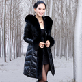 Free Shipping Hot Genuine Leather Down Jacket Genuine Sheepskin Leather Down Coat Plus Size Fox Fur Collar Fur Long Coat / S-5XL
