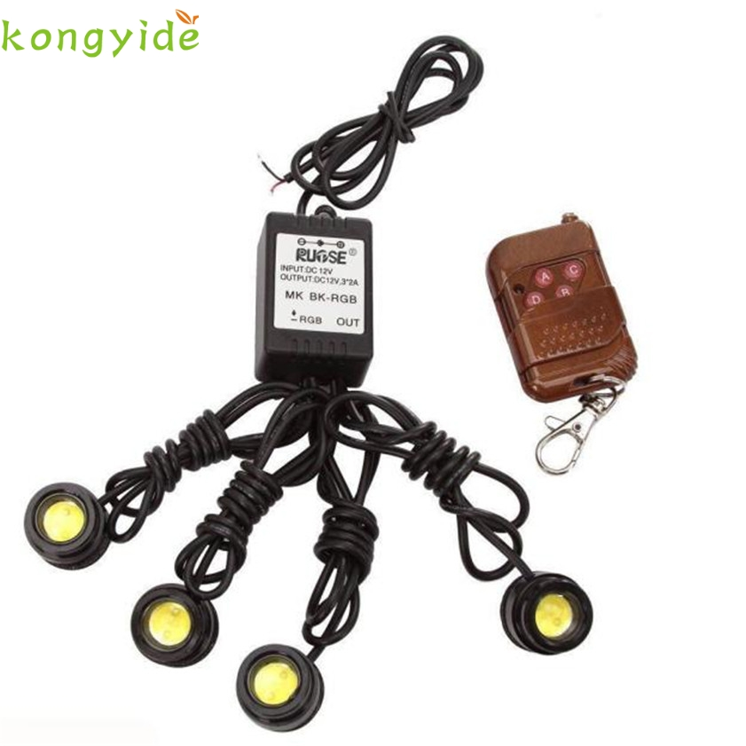 High Quality   4in1 12V Hawkeye LED Car Emergency Strobe Lights DRL Wireless Remote Control Kit 4in1 daytime running light 12v 12w led car emergency strobe lights drl wireless remote control kit car accessories universal
