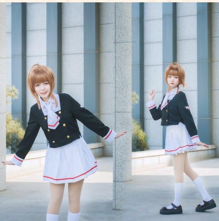 Anime Cardcaptor Sakura Card Captor Sakura School Uniform Cosplay Costume Dress Whole Set For Girl