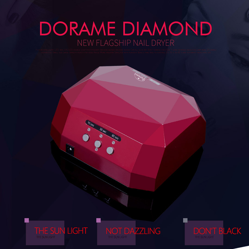 Dorame Diamond 36W UV Lamp CCFL Led Nail Dryer Time Settings for Nail Gel Curing UV