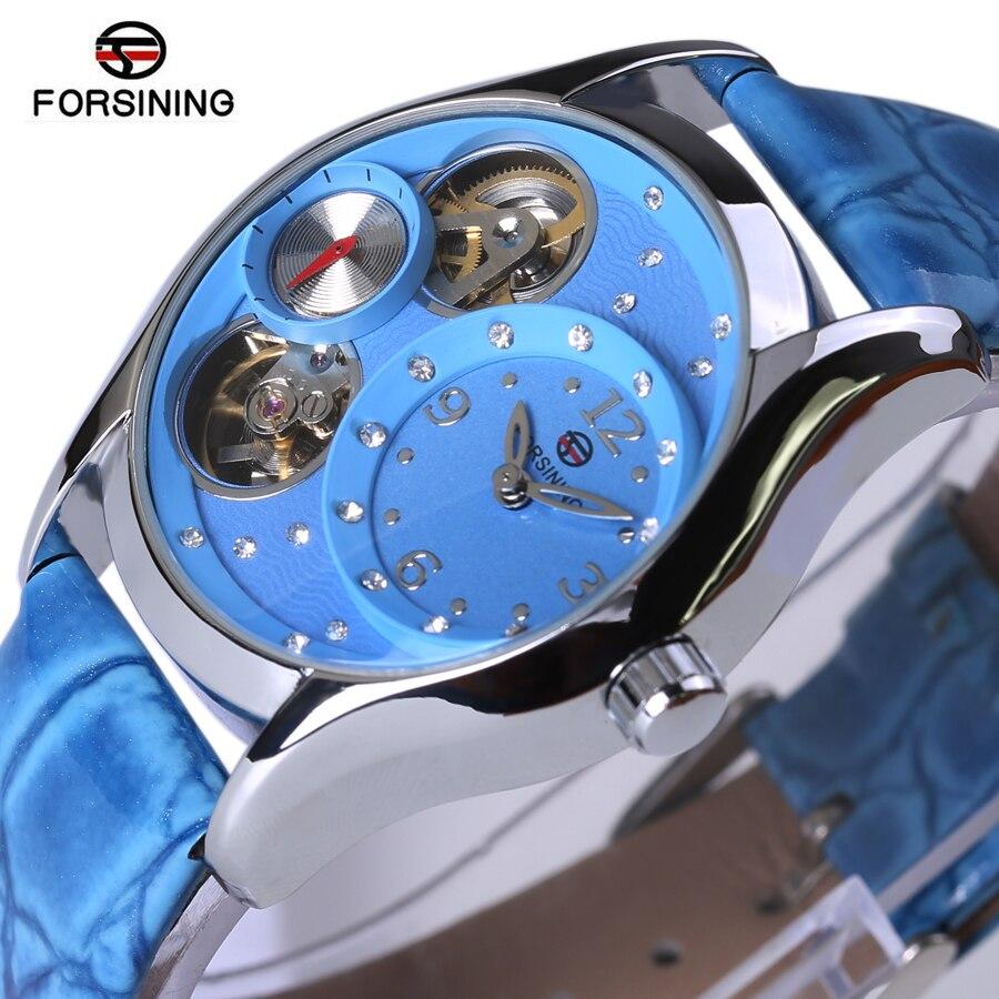 2018 Hot Luxury Brand Diamond Fashion Rhinestone Watch Women Casual Leather Clock Female Automatic Machinery Ladies Wristwatch