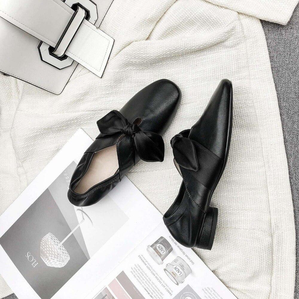 Krazing olla mujer nueva moda cosidos a mano zapatos de ballet de cuero Arco Nudo de tacón bajo cuadrado del dedo del pie resbalón en zapatos de manga de hadas L05-in Zapatos de tacón de mujer from zapatos    3