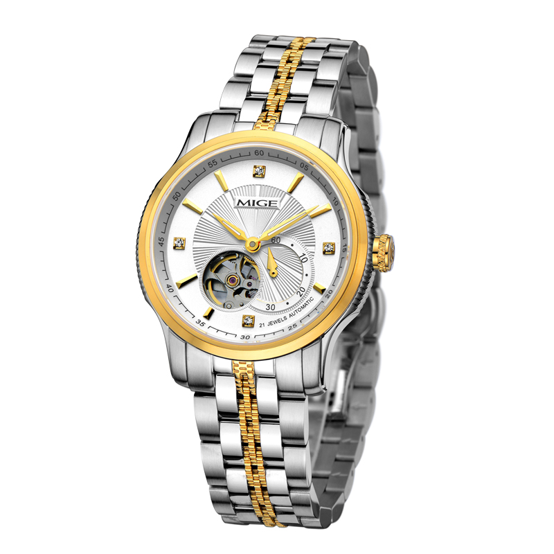 2017 Rele New Time-limited Mige Mechanical Men Watches Steel Watchband Gold White Waterproof Skeleton Automatic Mans Watch mige 2017 top fashion time limited sale sport watch white steel watchband saphire dial waterproof case quartz man wristwatches