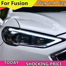 רכב סטיילינג ראש מנורת עבור פורד מונדיאו 2017 2018 פנסים עבור Fusion פנס דינמי היגוי DRL H7 D2H Hid Bi קסנון קרן