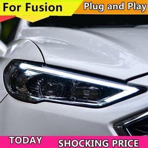 Image 1 - רכב סטיילינג ראש מנורת עבור פורד מונדיאו 2017 2018 פנסים עבור Fusion פנס דינמי היגוי DRL H7 D2H Hid Bi קסנון קרן