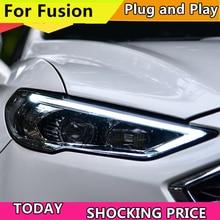 Estilo do carro lâmpada de cabeça para ford mondeo 2017 2018 faróis para fusão farol direção dinâmica drl h7 d2h hid bi xenon feixe