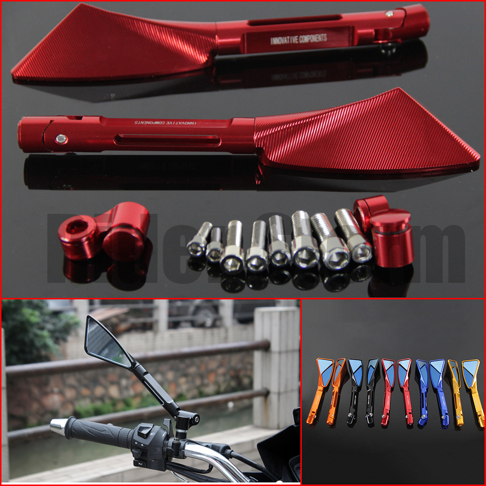 2016 hot sale universal motorcycle parts mirrors motorcycle CNC aluminum rear view mirror for Honda HORNET 250 600 900 Red color