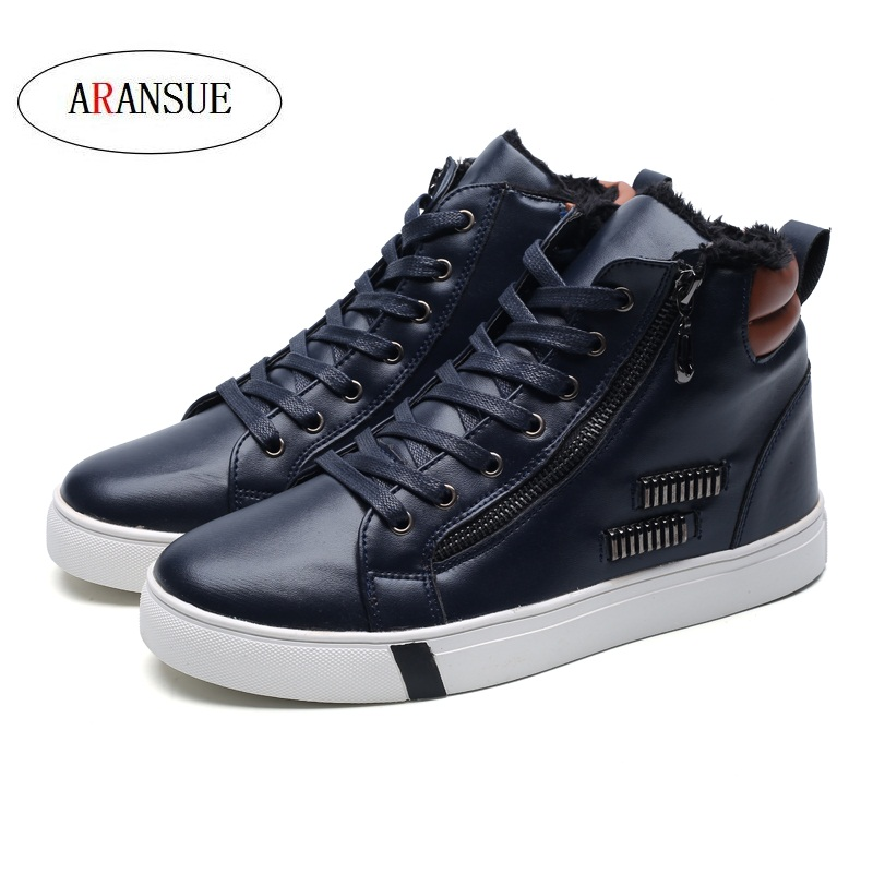 Rapture Aransue New Mens Leisure Shoes In Winter Antiskid And Wearresistant High Shoes Comfortable Warm Outdoor Cotton Shoes Size 39-44 Shoes Men's Vulcanize Shoes
