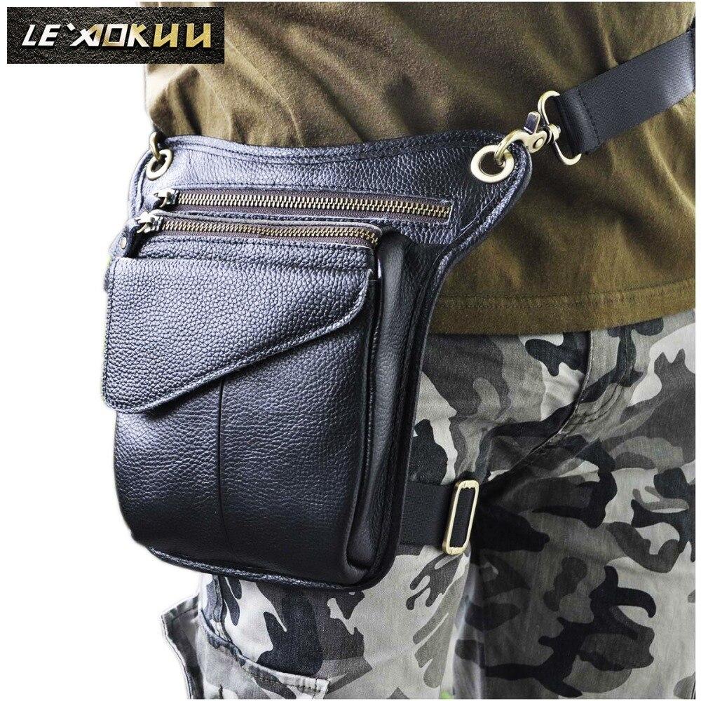 Genuine Leather Men Multifunction Design Casual Sling Shoulder Messenger Bag Fashion Waist Belt Pack Drop Leg Bag 211-3b