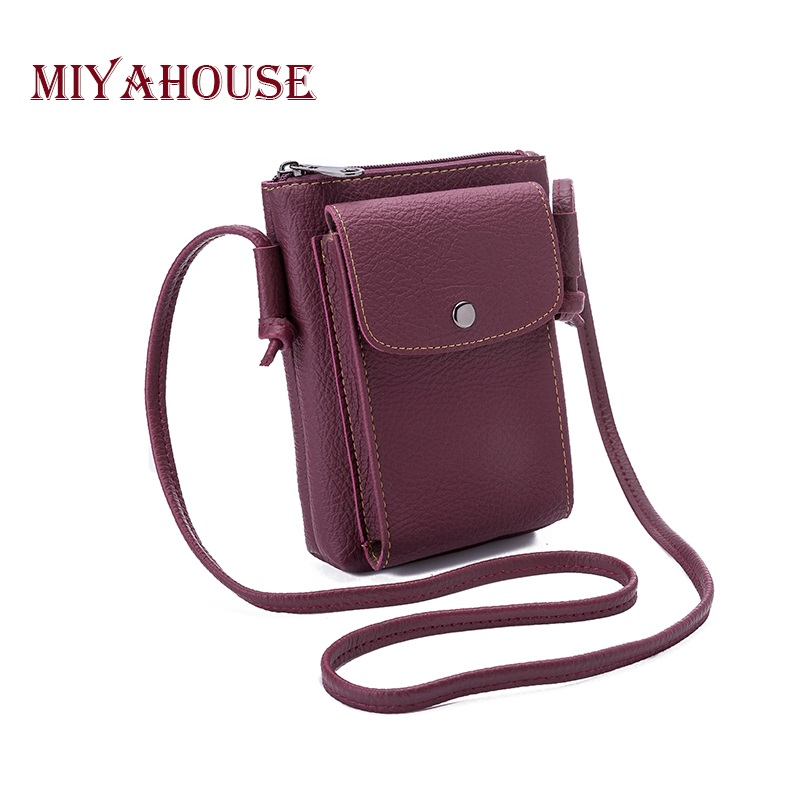 Miyahouse Casual Mini Phone Shoulder Bag For Girls Solid Color Simple Design Crossbody Bag PU Leather Small Phone Bag