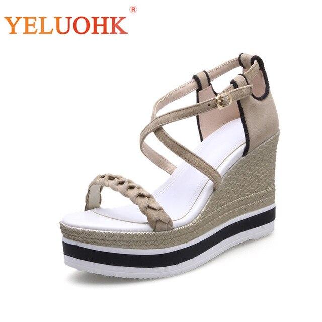 ff500c43365b Platform Sandals Women Natural Suede High Heel Women Sandals 2018 Summer  Shoes Wedges 9.5 CM HIgh