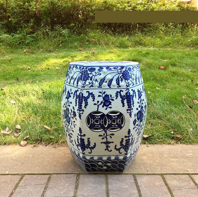 Jingdezhen Hand-painted Blue And White Porcelain Drum Stool Living Room Sofa Several Sample Rooms ceramic stool