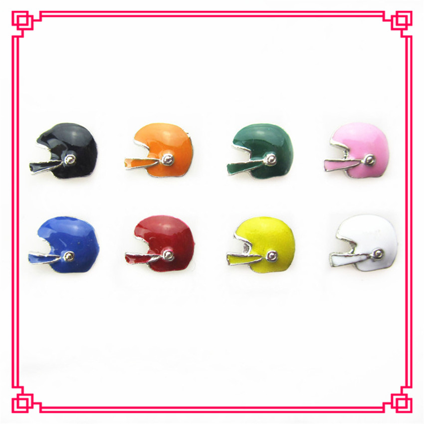 80pcs/lot Hot selling Mix color Football Helmet Floating Charms Living Glass Memory Lockets DIY Jewelry Charms