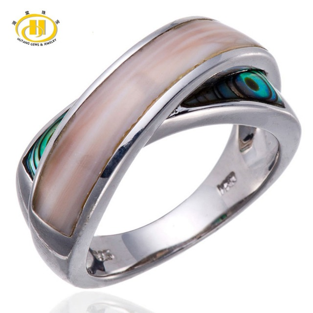 072c34aa3bfd68 Hutang Pink Mother of pearl and Abalone shell Solid Sterling Silver Cross  Ring