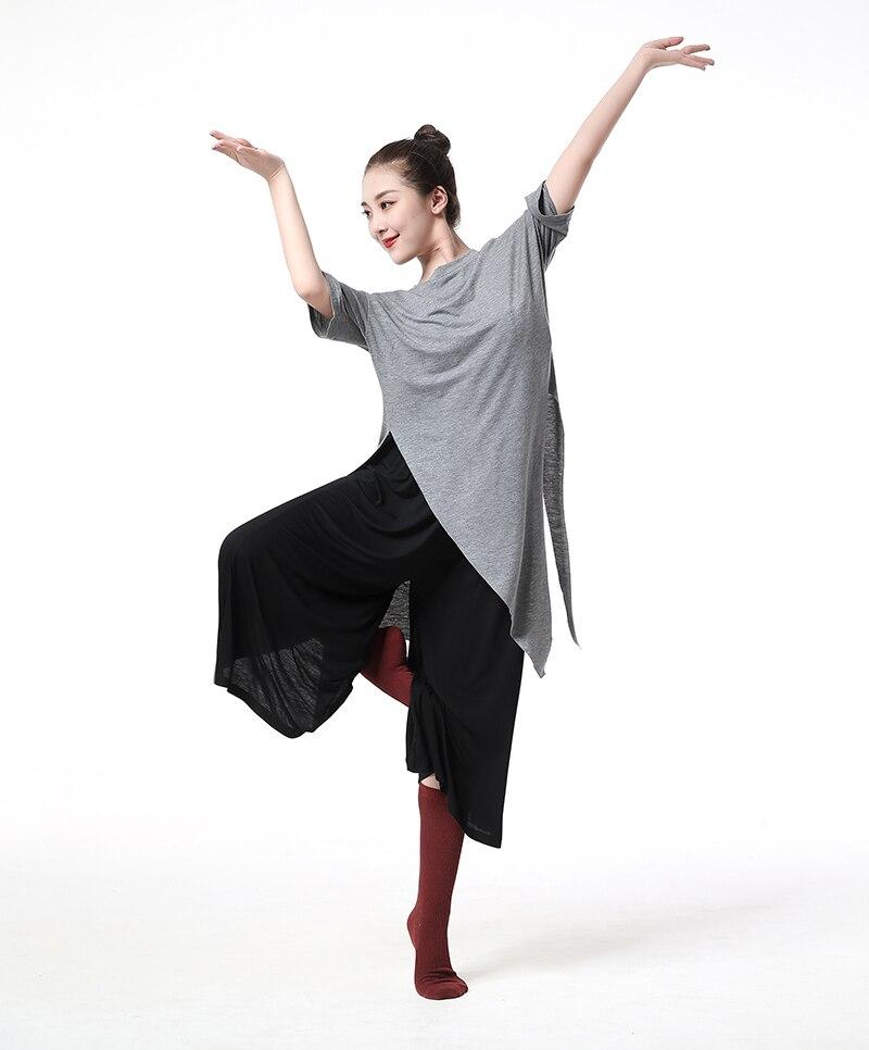 Latin Dance Gray long Irregular split men women Top T-shirt Tango Cha Salsa rumba modern wear costumes Dancewear Yoga