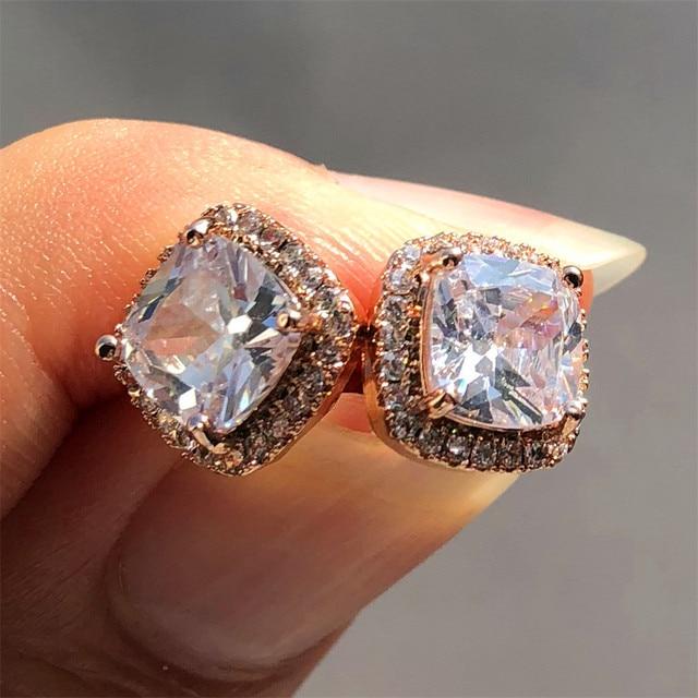 Luxo feminino cristal zircon pedra brincos moda prata cor jóias vintage duplo parafuso prisioneiro brincos para mulher 4