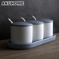 Ceramic Oil Salt Tank Spice Jar Set Household Ceramic Kitchen Salt Box AKUHOME
